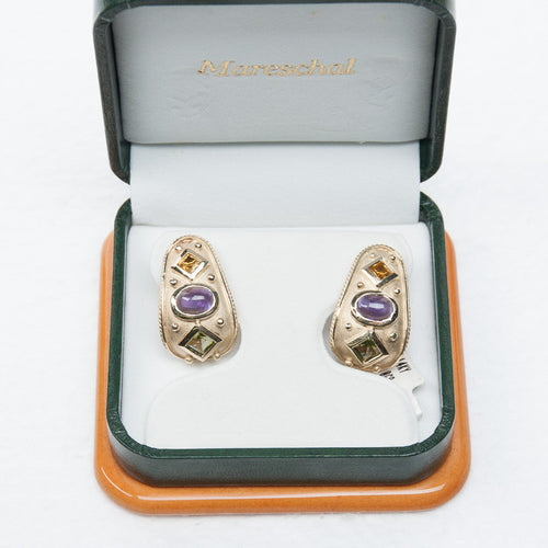 Amethyst, Topaz & Peridot Gemstone Designer Earrings IN 14KY, this is  Pre-Owned Item #227564