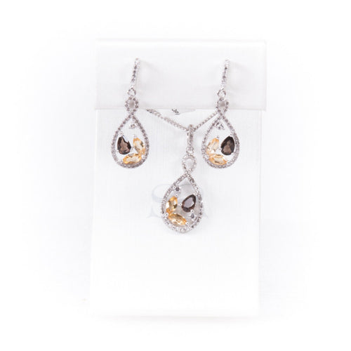 Citrine & Smoky Topaz Jewelry Set in Silver, this is New Item #BLK-6907, BLD-5382