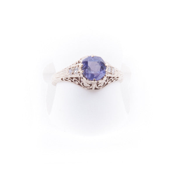 LADIES ANTIQUE PURE SAPPHIRE DIAMOND RING IN 18KY #V32348