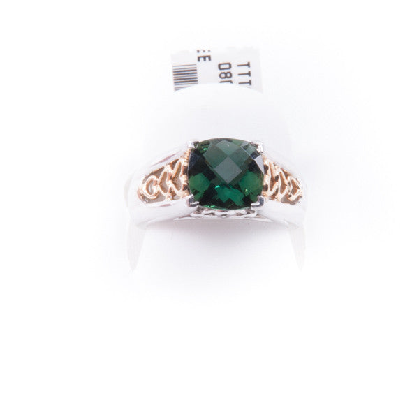 TWO TONE 2.63CT GREEN GARNET RING 9.3 GRAMS IN 14K New #C4M0AG32