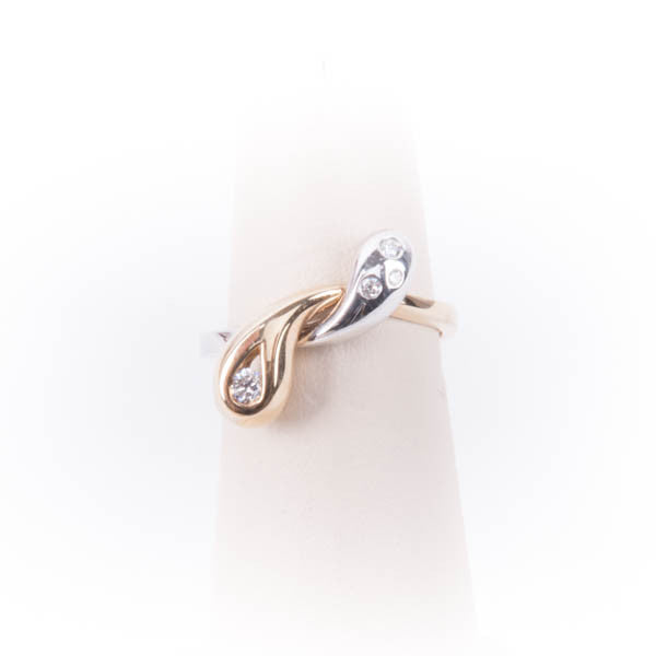 LADIES .15CTW DIAMOND  FREEFORM TWO-TONE RING IN 14KY/W, this is Pre-Owned Item #V30583.SA