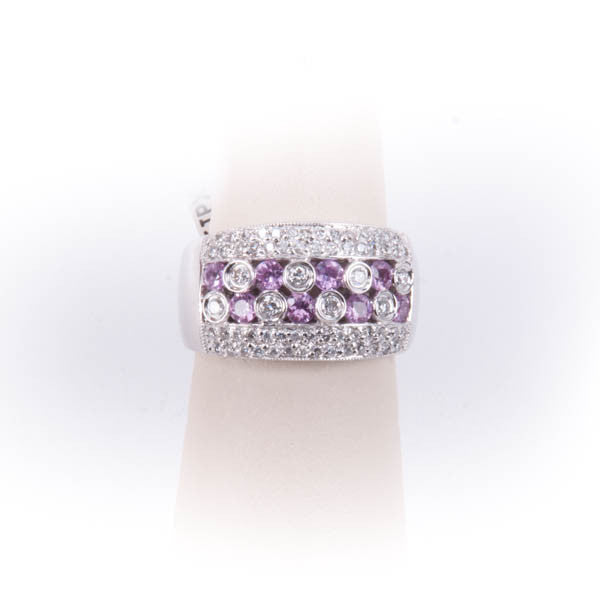 LADIES DIAMOND & PINK SAPPHIRE RING 6.2GRAMS IN 14KW,  Pre-owned #317898