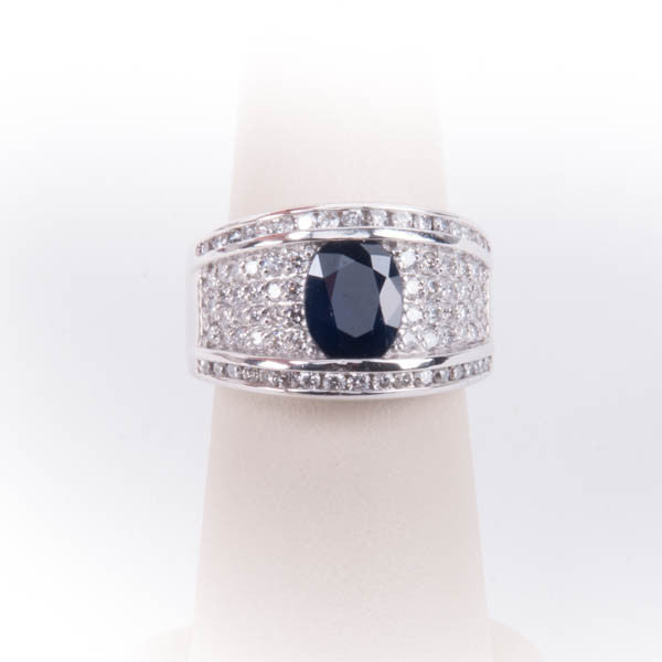 LADIES 1CTW DIAMOND & 3CT SAPPHIRE  RING 12.8GRAMS IN 14KW, this is Pre-Owned Item #296425A