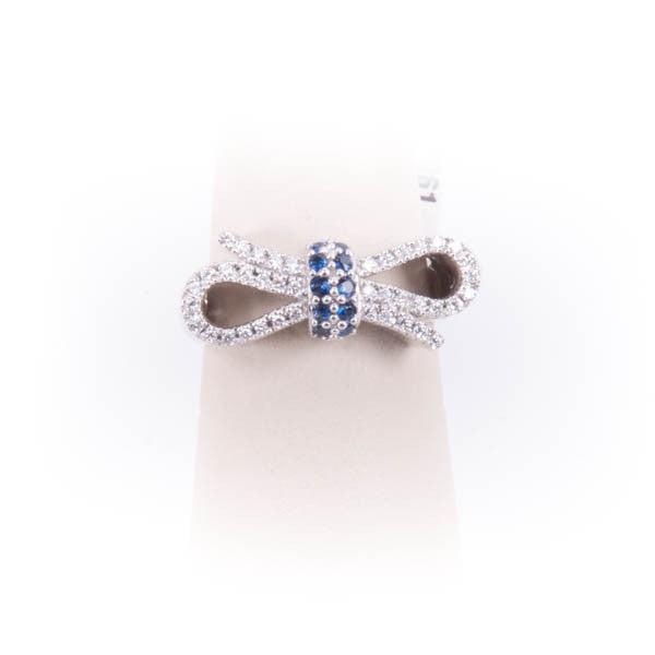 LADIES DIAMOND & SAPPHIRE BOWTIE RING 6.4GRAMS IN 14KW #317061