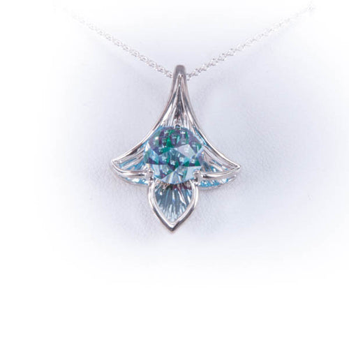 GALATEA  8MM BLUE TOPAZ DESIGNER NECKLACE IN 14KW, this is New Item #V37538