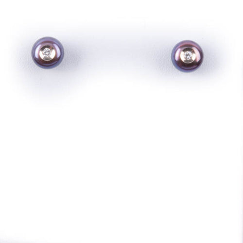 GALATEA .08CT DIAMOND IN PEARL EARRINGS IN 14KW, this is NEW Item #906WB