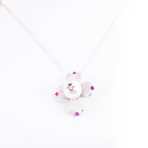 GALATEA .04CT DIAMOND IN PEARL AND 08CT RUBY NECKLACE IN 14KW, this is Pre-Owned Item #V37659