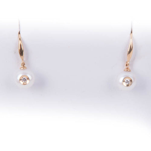 GALATEA .08CT DIAMOND IN PEARL EARRINGS IN 14KY, this is NEW Item #2036YW.SA