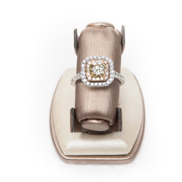 1CT YELLOW DIAMOND ENGAGEMENT RING IN 18KW #FY126