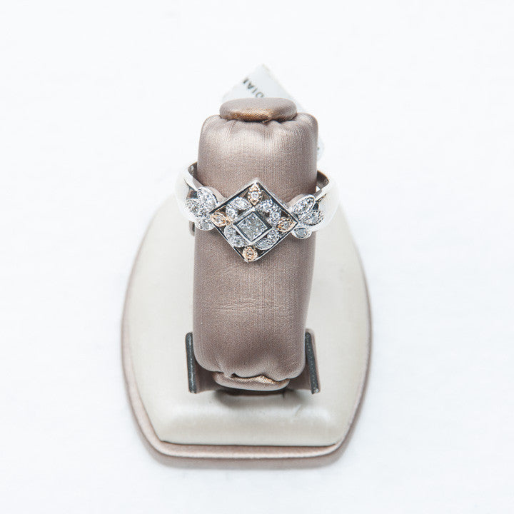 LADIES FILIGREE RING WITH WITH DIAMONDS IN 14KW, this is Pre-Owned Item #269207B