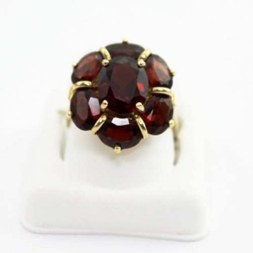 10K Yellow Gold Red Garnet floral motif Cluster Ring sz 6.75 Pre-Owned #342270f