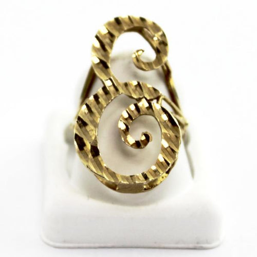 10K Yellow Gold Ladies Letter -E- Initial Ring, Mother's Day Jewelry, Sz7.25-7.5 New #V53950