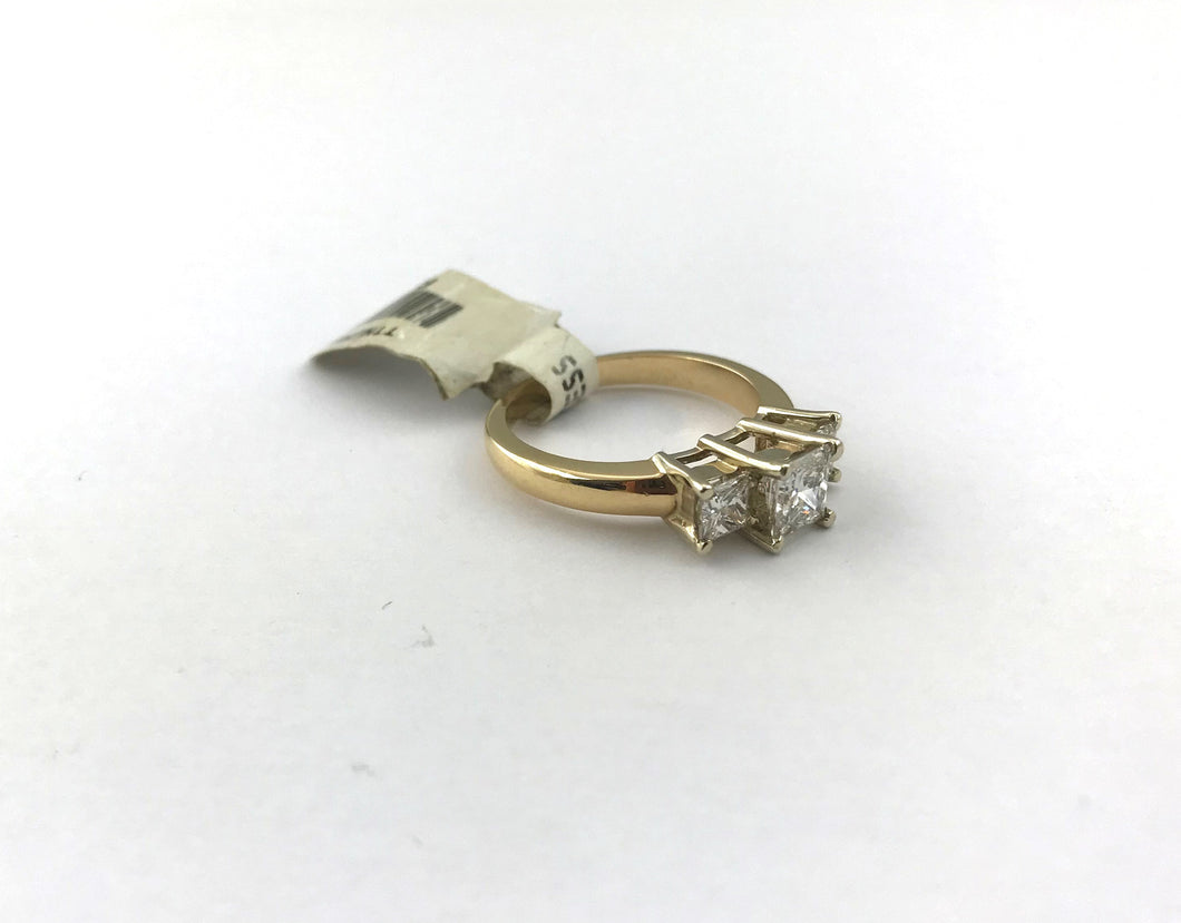 Ladies 3 Stone 1 30CT Princess Cut Diamond Ring in 14K Yellow Gold, New  Item #r-945