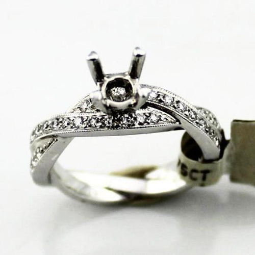 Diamond Semi-Mount Engagement Ring in 14K White Gold, New item #9901-01