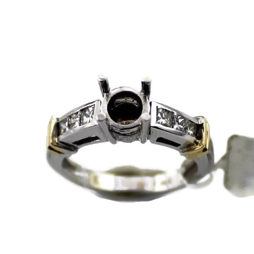 14K White & Yellow Gold .40CT Diamond Semi-Mount Engagement Ring, New item #RS764-D