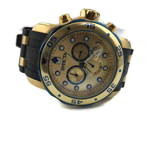 Invicta Men's 17887 Pro Diver Blue-Accented and 18k Gold Ion-Plated Stainless Steel Watch, Pre-owned item #355503