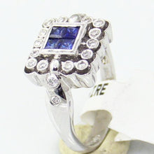 Ladies 18KW Gold 0.20CT Diamond & Sapphire Ring Size 6.5, this is New Item #6447