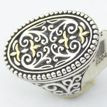 Sterling Silver & 18KY Gold Filigree Ladies Ring, Size 7, this is NEW Item #R204