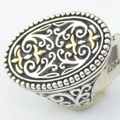 Sterling Silver & 18KY Gold Filigree Ladies Ring, Size 7 #R204