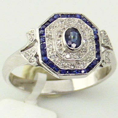 14KW Gold 0.11Ct Diamond 0.52CT Sapphire Ring Size 7.25 Pre-Owned #v29365