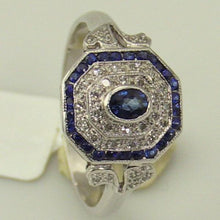 14KW Gold 0.11Ct Diamond 0.52CT Sapphire Ring Size 7.25 New #v29365
