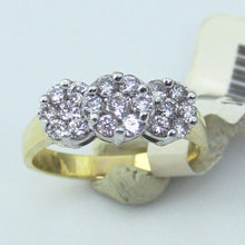 14KY Gold Pat.Pend 1ct.tw. Diamond Flowers 3 Stone Anniversary Band Ring, sz 7 New #101988
