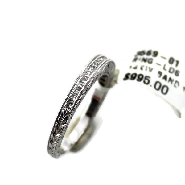 Diamond Wedding Band in 14K White Gold, New item #3569-01