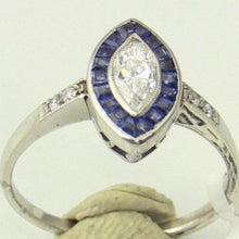 Ladies Platinum Diamond & Sapphire Marquise Ring Size 6.5, this is New Item #ANT-MARQ0