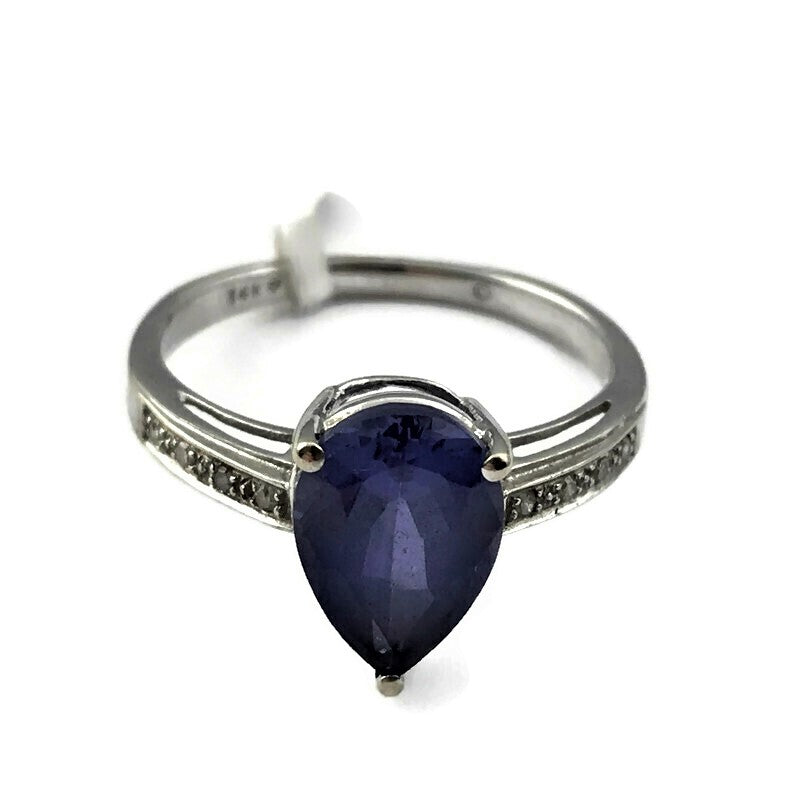 Pear Shape Blue Stone Ring in 14k White Gold