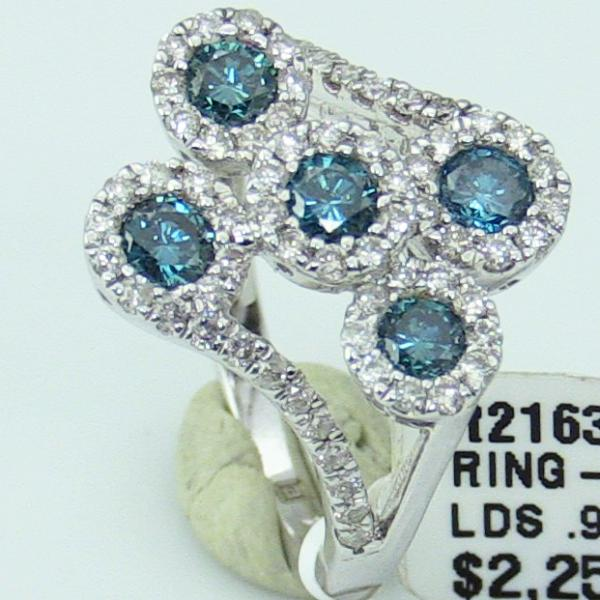 Ladies14KW Gold Split Shank Ring with Blue & White Damonds #R2163-DN