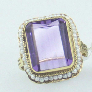 14Ky Gold Amethyst Pearl Ring Size 5.75 Pre-Owned #v18718