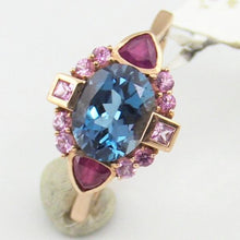 14KY Gold Rubies, Blue & Pink Topaz Ladies Ring Pre-Owned #268629A