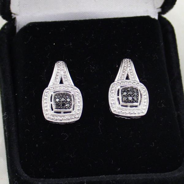 Sterling Silver Black & White Diamonds Earrings, this is New Item #v44396