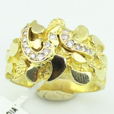 Mens 10 KY Gold Nugget Diamond Ring #330287