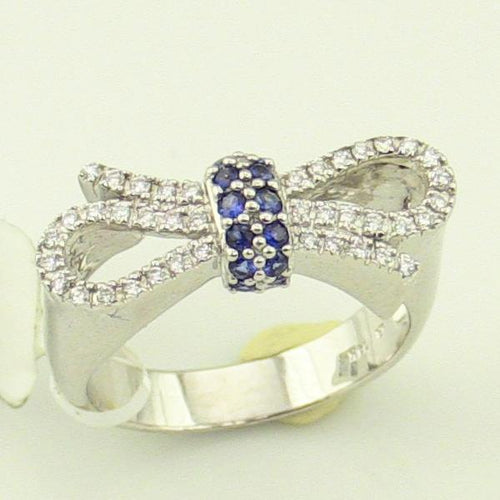 14K Ladies White Gold Diamond & Blue Sapphire Bowtie bow tie Ring, size 7 MINT, this is Pre-Owned Item #317061