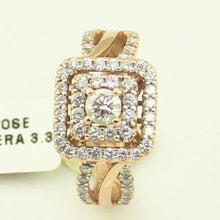 14K Rose Diamond Halo Vera Ring 3.35 DWT Pre-Owned #T12406