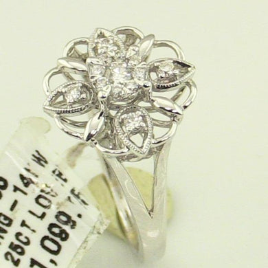 14 KW Gold 0.25 CT Diamond Loverbright Ring New #v44265