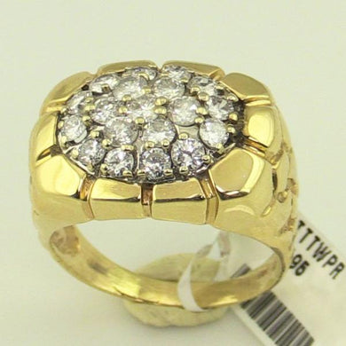 Mens 14KY Gold GTS Nugget Diamond Clust Ring #T11242