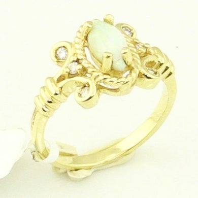 14KY Gold Opal with Diamond Ladies Ring 2.10DWT Pre-Owned #336763