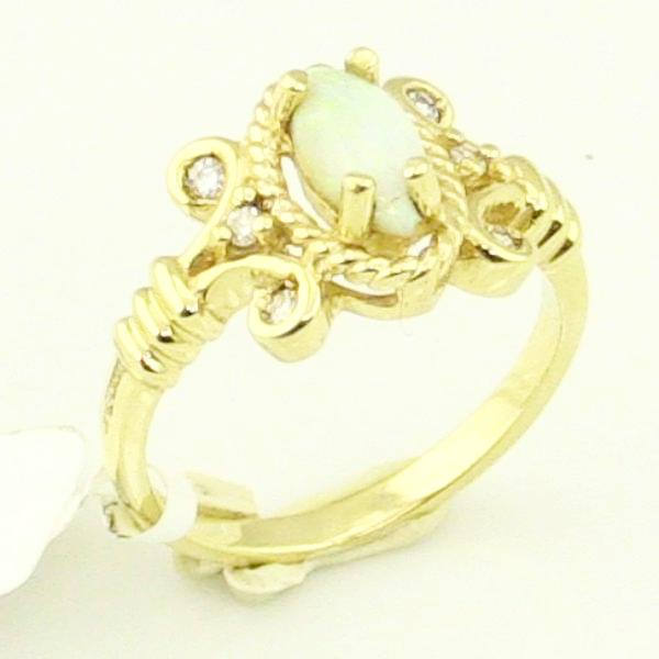 14KY Gold Opal with Diamond Ladies Ring 3.4g, Sz. 4.75, Pre-Owned #336763