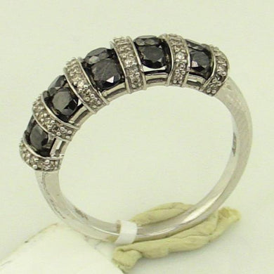 10KW Gold 1CTW White/Black Diamonds Ring Pre-Owned #v41269