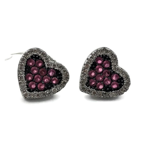 Sterling Silver Clear and Pink CZ Black Rhodium Heart Earrings