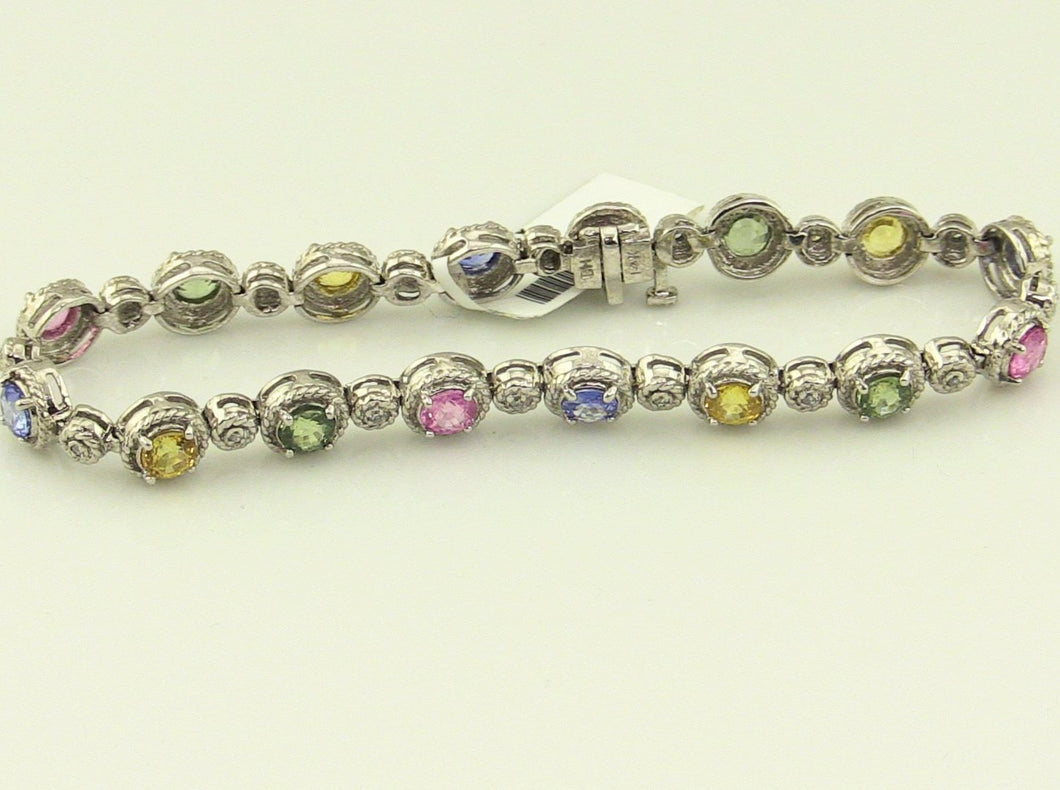 14KW Gold S-Link with Stones Bracelet 11.30 Pre-Owned #298992