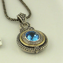 COLORE SG OVAL BLUE TOPAZ PENDANT NECKLACE IN STERLING SILVER AND 18K YELLOW GOLD, new item #LZP531-BTA