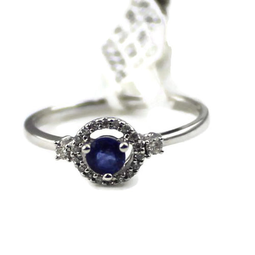 14k White Gold Round Sapphire and Diamond Engagement Ring 1.8Gr. Sz. 6.5, New item #R2233SA