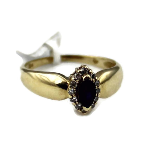 14K Yellow Gold Marquise Cut Sapphire & Diamond Engagement Ring 1.85DWT, Sz. 6.75 #338989