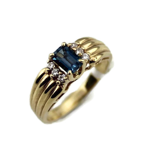 14K Yellow Gold Topaz & Diamond Ring 3.6gr., Sz. 7, pre-owned item #V6760