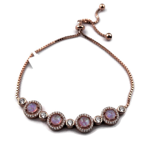 Sterling Silver RG Alternating Bezel-Set CZ & Pink Opal with CZ Border Bolo Bracelet