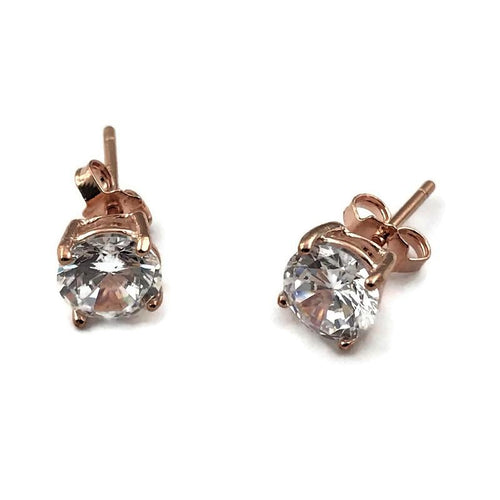 Sterling Silver Round 6MM CZ Stud Earrings - Rose Gold Plated