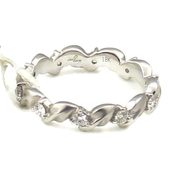 18K White Gold LYRIA Leaves Diamond Eternity Band, New item #BD1976-DWET